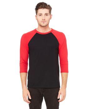 Bella Canvas 3200 Unisex 3/4-Sleeve 3.6 oz Baseball T-Shirt