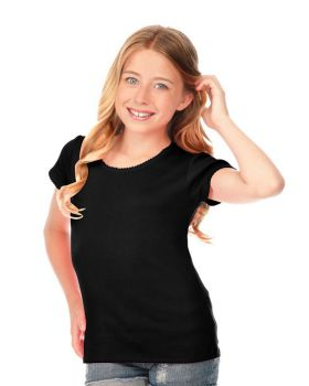 Kavio G1C0329 Girl's 7-16 Scalloped Scoop Neck Top