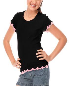 Kavio G2C0212 Girls 7 to 16 Lettuce Edge Short Sleeve Top