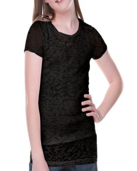 Kavio GJB0400 Girl's 7-16 Burnout Twisted Crew Neck Short Sleeve