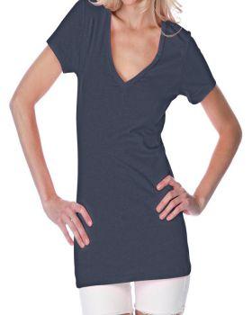 Kavio JJP0473 Women's Sheer Jersey Deep V Neck Short Sleeve