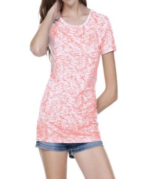 Kavio JJP0648 Women's Static Jersey Print Crew Neck Short Sleeve
