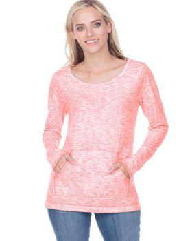 Kavio JJP0649 Women's Static Jersey Print Raw Edge Long Sleeve