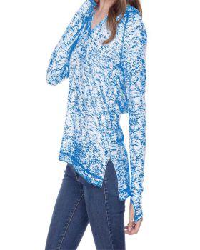 Kavio JJP0650 Women's Static Jersey Print Raglan Long Sleeve Thumbhole H ...