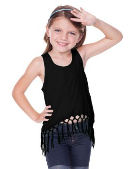 Kavio PJP0623 Girls 3 6X Sheer Jersey Scoop Neck Macrama Fringe Tank Top
