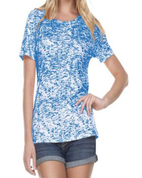 Kavio WJP0648 Women's Static Jersey Print Crew Neck Short Sleeve