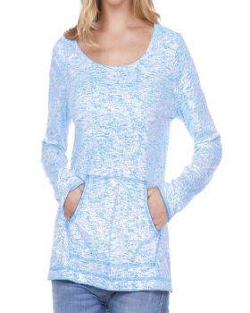 Kavio WJP0649 Women's Static Jersey Print Raw Edge Long Sleeve