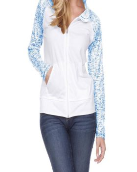 Kavio WJP0651 Women's Static Jersey Contract Raglan Long Sleeve Zip Hood ...