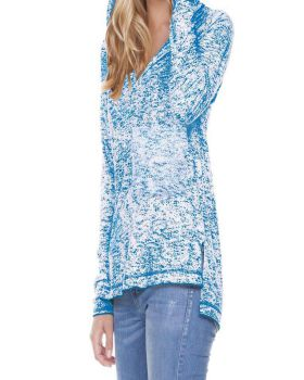 Kavio WJP0654 Women's Static Jersey Print Raglan Long Sleeve High Low Ho ...