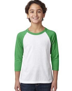 Next Level 3352 Youth CVC 3/4-Sleeve Raglan T-Shirt